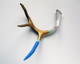 Painted Antler - MEDIUM - Blue, Seafoam & Gold Chevron