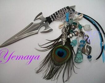 Yemaya  Embellished Athame - Several Blade Styles/Sizes - Aqua Obsidian, Moonstone, Pearl
