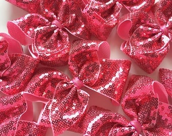 """Red Sequin Bow - BLING ribbon - absolutely stunning pink hairbow choose 4-5"""" or 6-7"""""""