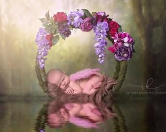 baby hoop photograpy prop, newborn or baby prop, floral hoop, photography prop