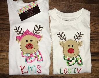 Personalized Applique Christmas girl/boy Scarf Reindeer Long/Short sleeve tshirt or onesie