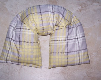 Neck & Shoulder Wrap  Pillow,  Heating Pad Ice Pack Flax seed therapy pillow Yellow plaid