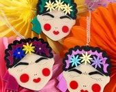 Frida Kahlo portrait necklace or brooch, custom colours, laser cut acrylic