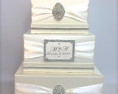 Wedding Money Box Ivory or White Classic Monogramed Wedding Card Holder Wedding Card Box Gift Card Box Secure Lock