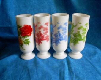 Vintage, Set of 4 Avon Milk Glass vases or cups.
