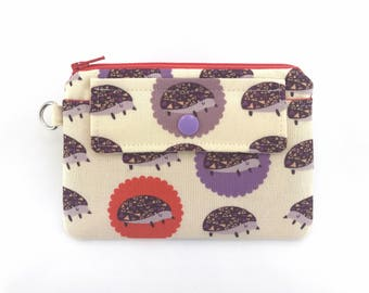 Hedgehog Coin Purse, Zipper Wallet Pouch, Small Snap Pouch, Card Case, Change Purse, Gift for her, Padded