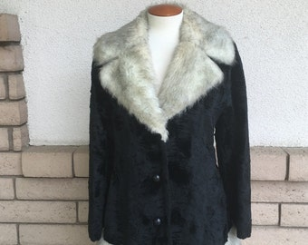 Vintage Black and Gray Faux Fur Princess Coat by Betty Rose Size M-L