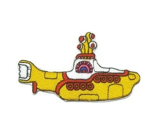 1pc The Beatles Yellow Submarine Embroidered Applique Patch. Iron On or Sew On Legends Badge for T-shirts, Jeans, Shirts. 8.8cm wide