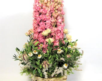 Contemporary Dried Flower Arrangement, Floral Centerpiece