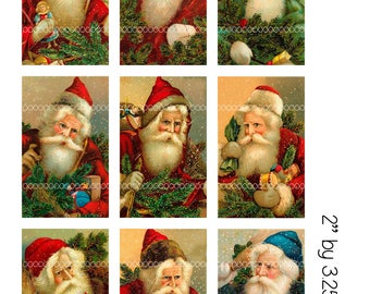 Digital Christmas Clipart, instant download, Vintage Santa Claus Images, St Nicholas, words/no words--8.5 by 11--Digital Collage Sheet 572