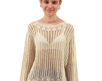 On Sale - Boho Crochet Top, 90s Knit Top, Bohemian, Hippie, Cotton Top, Vintage 90s Top Δ fits sizes: xs / sm / md