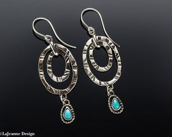 Loopy - Turquoise Sterling Silver Earrings