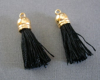 10-Black Silk Tassel with Shiny Gold Caps, Silk/Satin Tassels Charms Pendant, Ideal Accessories for DIY projects--38x10 mm