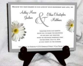 SALE! White Daisy Wedding Invitations Set.  Valued at over 600 dollars