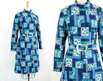 Vintage 1960s dress . Paisley Place . blue corduroy dress . 1960s paisley dress by The Spectator . md / lg