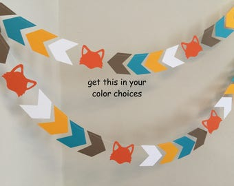 Fox Garland - Woodland Fox banner - Wild One Birthday Party decor - Camping birthday garland - Fox Baby Shower decor- your color choices