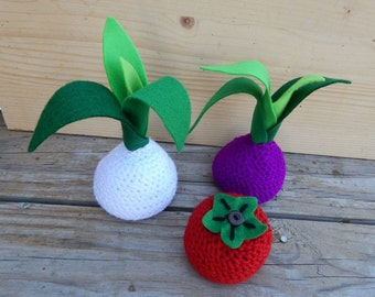 Vegetable amigurumi beanbags white onion or purple onion or tomato