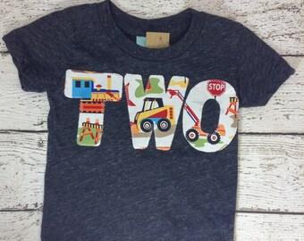 Ready to Ship second birthday shirt , construction shirt, construction birthday, two shirt, boy's shirt, second birthday gift, dump truck