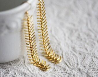 Long Drop Chain Earrings Gold Dangle Earrings Chandelier Geometric Earrings Shoulder Dusters Chain Tassel Earrings - E331