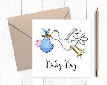 Baby Boy Stork Greeting Card, baby boy, baby card, birth announcement