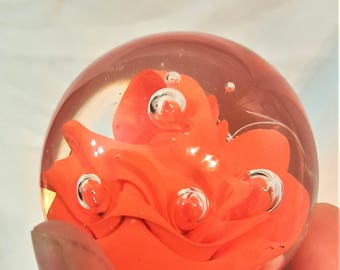 Orange swirls with Controlled Bubbles, Vintage,  blown glass paperweight - free shipping