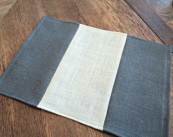Gray Burlap Placemats Gray Table Settings Modern Farmhouse Decor Gray Home Decor Rustic Chic Table Decor