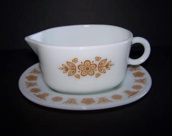 "PYREX Gravy Boat and Underplate Oval  ""Butterfly Gold"" ""Autumn Harvest"" ""Five Petal Flowers"""