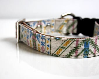 BOHO bohemian earth Cotton Linen Dog Collar - beige, green, sky blue