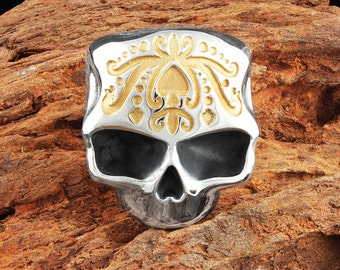 Mens Solid 925 Sterling Silver and 22k Gold Ace of Spades Skull Ring