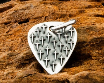 Handmade Sterling 925 Silver Earth Star Guitar Plectrum Pendant with Cross Design and the Dogstone ID on the reverse.