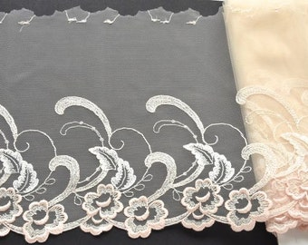 Peach and Creme Lace Trim, Peach Ivory Floral Lace, Lingerie, Lace Decor, Lace Dress, Dolls, Creating with Lace