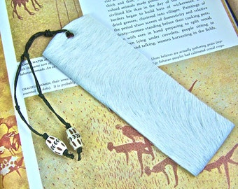 Bookmark Leather - White Hide, Black Hemp Cord, White Bone Beads with Black Hand Carved Pattern