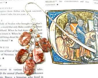 Bookmark - Pink Italian Marble & Mixed Media Beads - Silver Plated Chain - Silver Plated Shepherds Hook