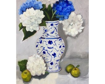 Original still life oil painting:  Blue and White hydrangeas in Chinoiserie Vase