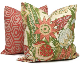 Zanzibar Blush Decorative Pillow Cover 18x18, 20x20, 22x22, 24x24, Eurosham or Lumbar Pillow, Schumacher coral green floral pillow