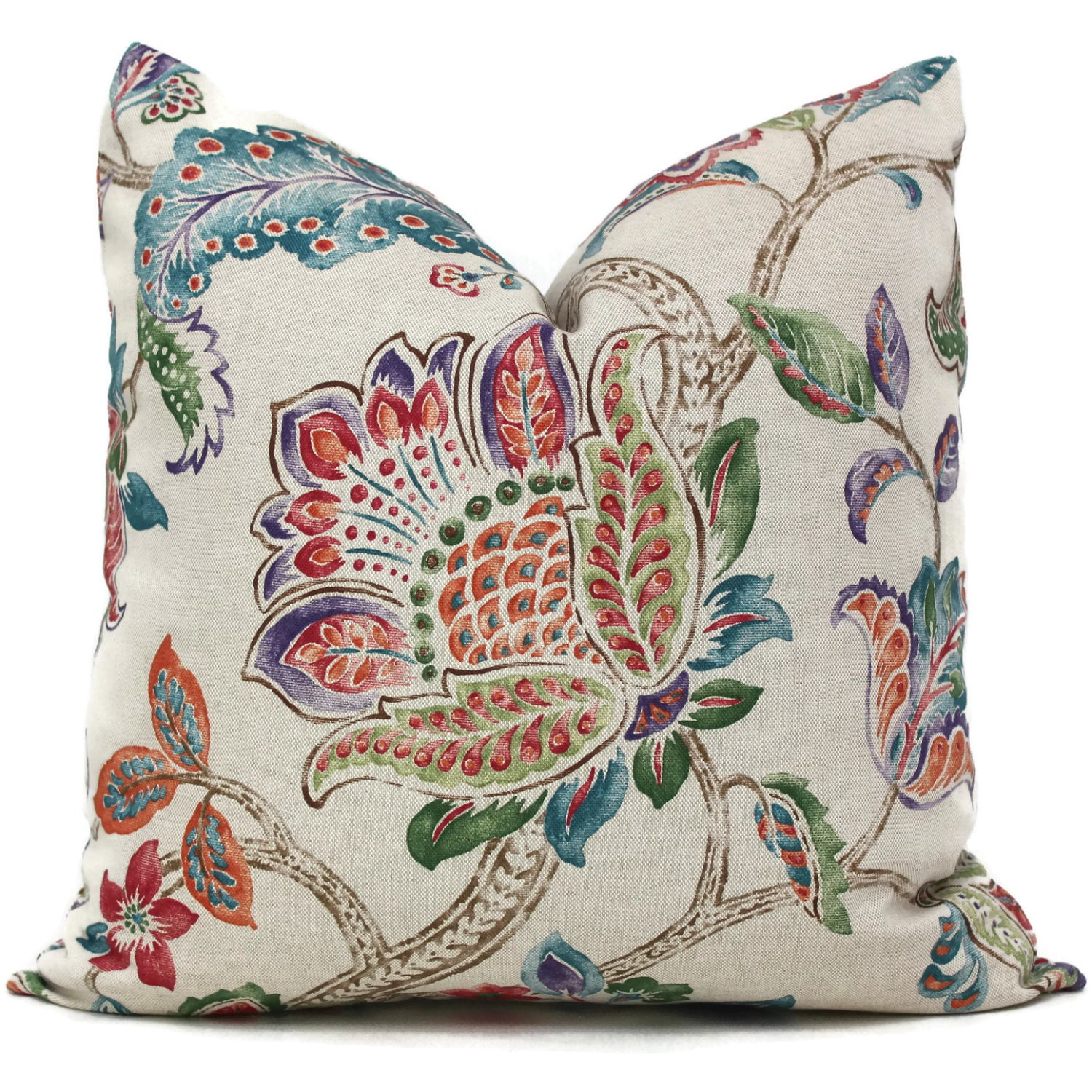 Jacobean Decorative Pillows : Multi color Jacobean Floral Decorative Pillow Cover 18x18