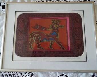 "Art by Lindy Date Boho Tribal Artist Proof 1988 ""Tapestry"" Vintage Artwork Signed"