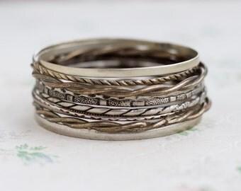 Silver Toneds Bangles - Instant Collection of 10 Boho Bracelets