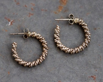 Sterling Silver Hoop Earrings - Small - Vintage Oxidized Jewelry - 80s Fashion