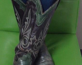 Green lizard cowboy boots