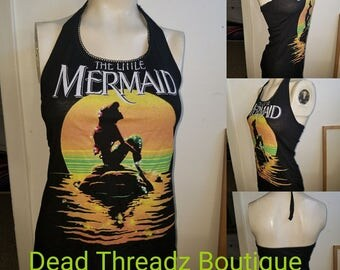 Recycled upcycled Halter top dress Made from used liscened little mermaid  shirt CHOOSE size