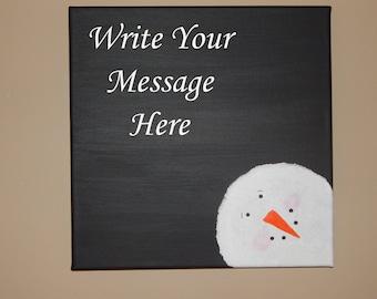 Snowman Chalkboard Canvas Wall Hanging