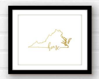 Virginia art print | Virginia home decor | gold foil Virginia art | Virginia print | gold foil signs | gold foil art | Virginia nursery