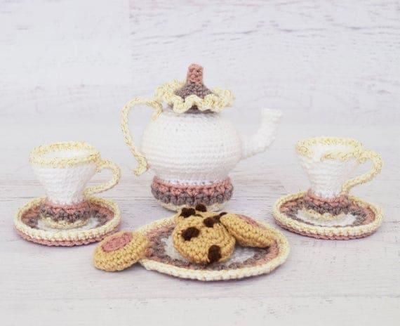 Amigurumi Crochet PATTERN - Mrs. Potts Tea and Cookies - tea set pretend play crochet food toy cookies amigurumi tea pot PDF pattern