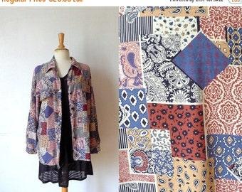 50%WINTERSALE 90s paisley blue tan burgundy bandana printed oversized shirt M/L