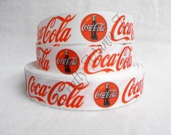 "Coca-Cola Soda Pop Logo and Image on White 1"" Grosgrain Ribbon. 5 yards. Coke. LAST CUT"