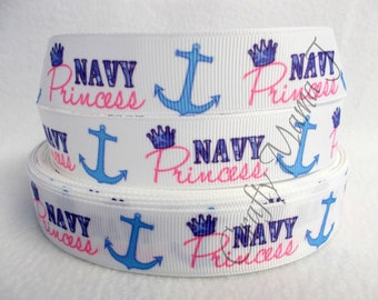"""Military Girl """"Navy Princess"""" with crown and anchor on  7/8"""" Grosgrain Ribbon by the yard. Choose between  3/5/10 yards."""
