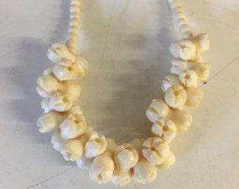 Vintage Floral Carved Bone Choker Necklace