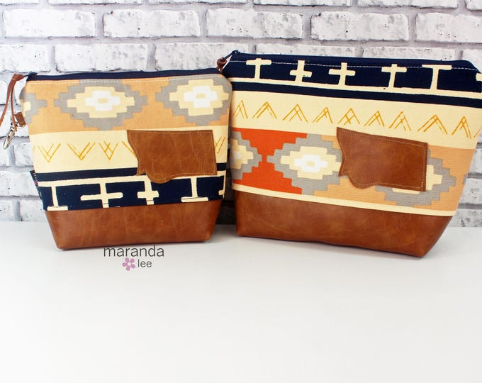 AVA Clutch -2 Sizes - Bound with Montana Patch  READY to SHIp