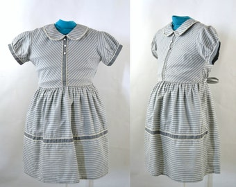 Sweet 1950s Girls Dove Gray and White Stripe Dress, Size 6